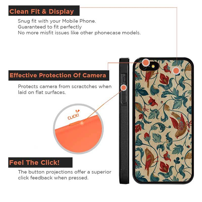 Mangomask™ - Apple iPhone 5 / 5s / SE Flower-Kalamkari -Kalamkari Print on Real Wood Slim Mobile Phone Case Back Cover