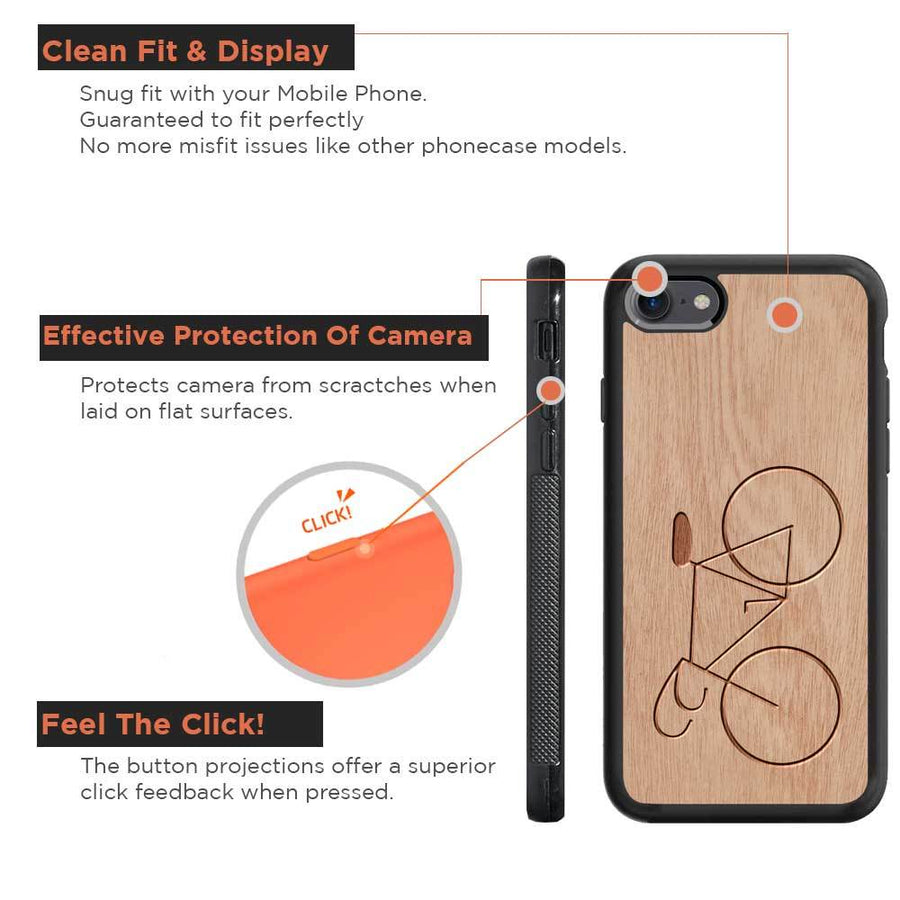 Mangomask™ - Apple iPhone 8   Bicycle Engraved on Mahogany Real Wood Slim Mobile Phone Case Back Cover