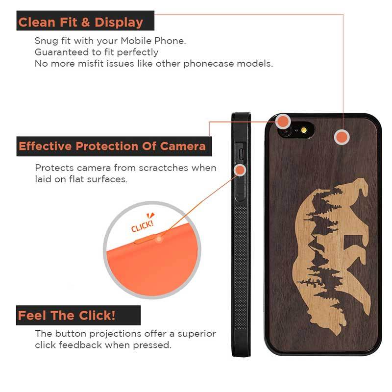 Mangomask™ - Apple iPhone 5 / 5s / SE Mountain-Bear-Inlay Mahogany and Rosewood Real Wood Slim Mobile Phone Case Back Cover