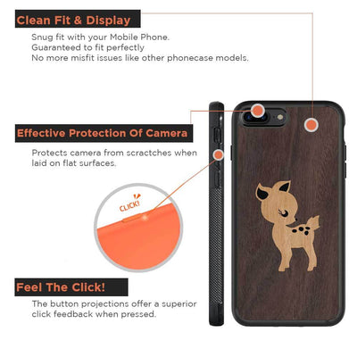 Mangomask™ - Apple iPhone 8 Plus Fawn Inlay Mountain-Pattern-Inlay Mahogany on Rosewood Real Wood Slim Mobile Phone Case Back Cover