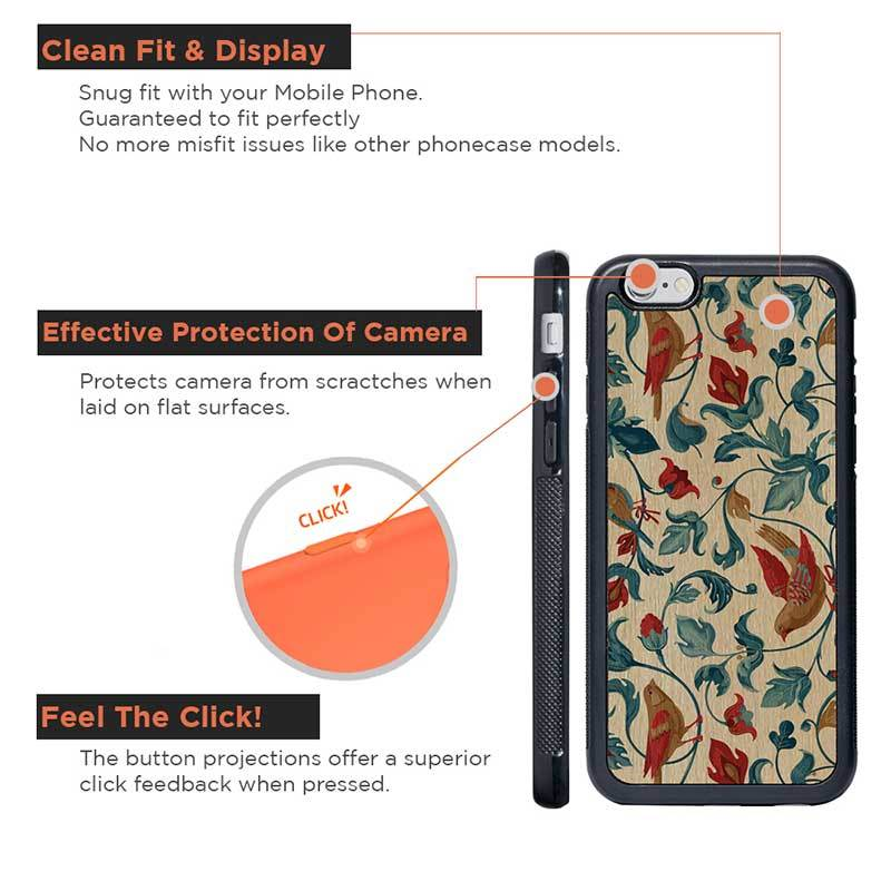 Mangomask™ - Apple iPhone 6 Plus / 6S Plus Flower-Kalamkari-Print on Real Wood Slim Mobile Phone Case Back Cover