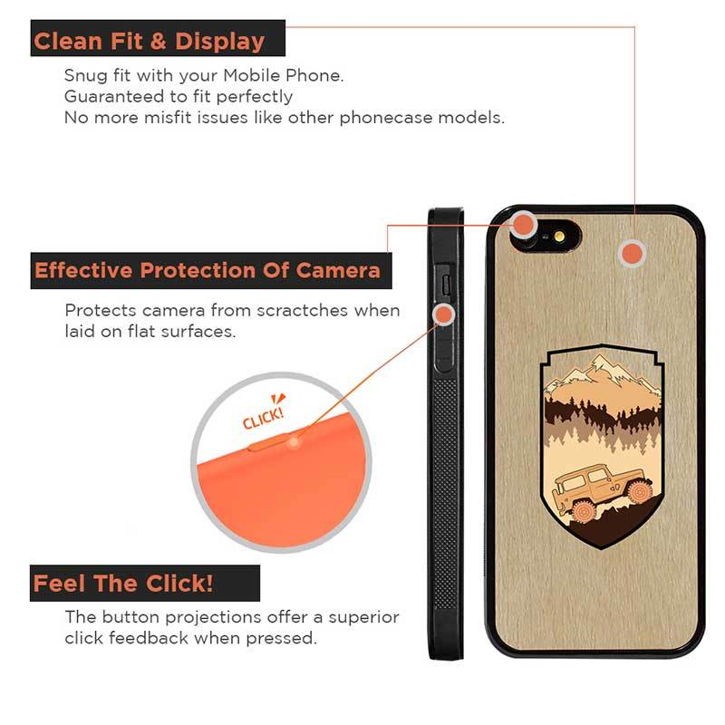 Mangomask™ - Apple iPhone 5 / 5s / SE Mountain-Trees-Jeep-Pattern-Inlay Mahogany on Rosewood Real Wood Slim Mobile Phone Case Back Cover