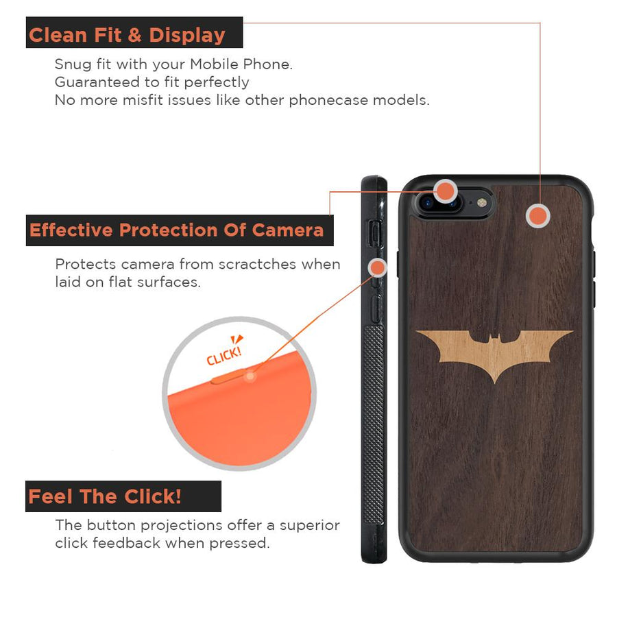 Mangomask™ - Apple iPhone 8 Plus Batman Logo Inlay on Mahogany Real Wood Slim Mobile Phone Case Back Cover