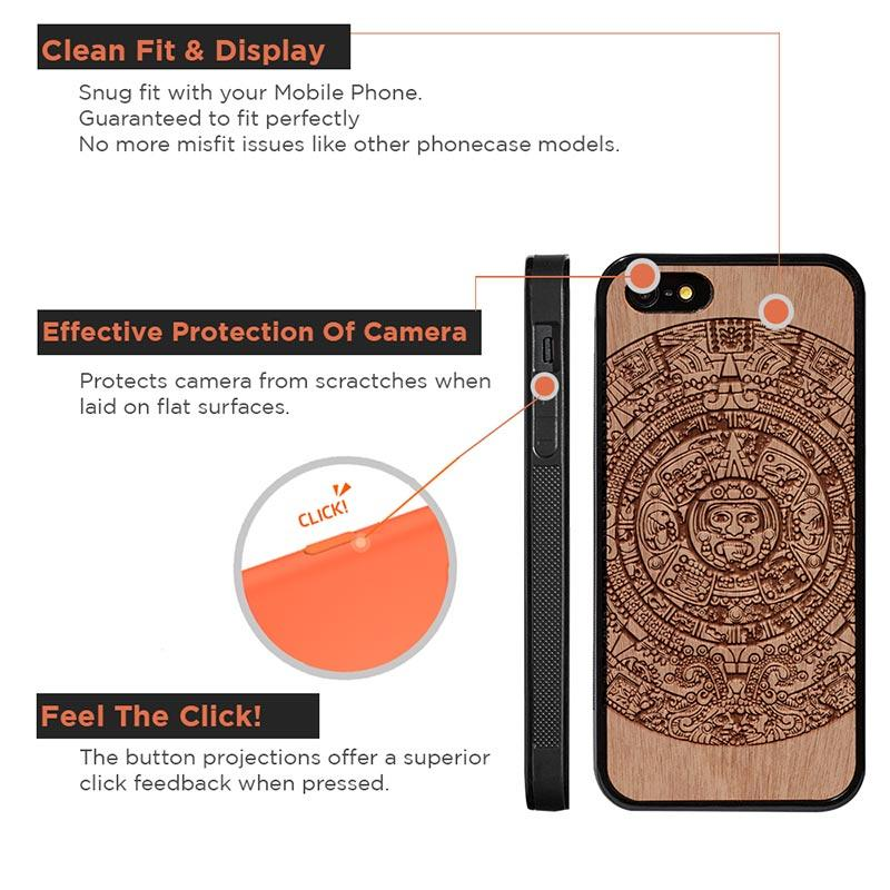 Mangomask™ - Apple iPhone 5 / 5s / SE Aztec Calendar Engraved on Mahogany Real Wood Slim Mobile Phone Case Back Cover
