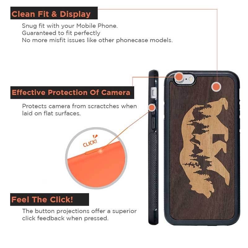 Mangomask™ - Apple iPhone 6 Plus / 6S Plus  Mountain-Bear-Inlay Mahogany Real Wood Mobile Phone Case Back Cover