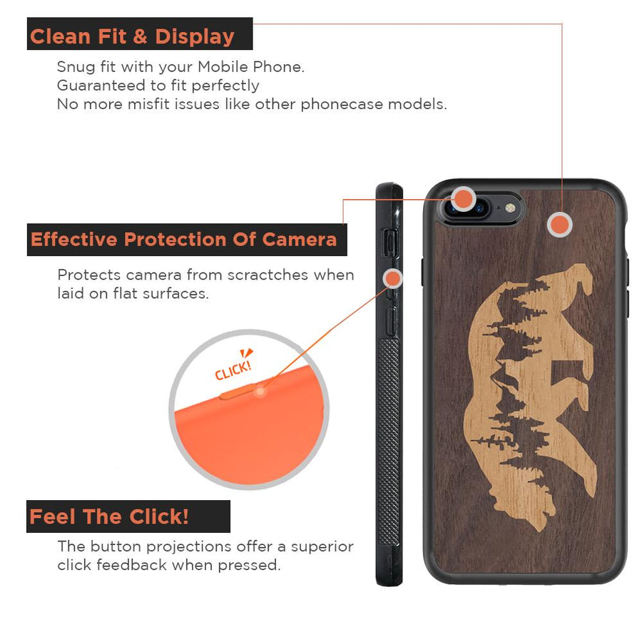 Mangomask™ - Apple iPhone 8 Plus Mountain-Bear-Inlay Mahogany AND Rosewood Real Wood Slim Mobile Phone Case Back Cover