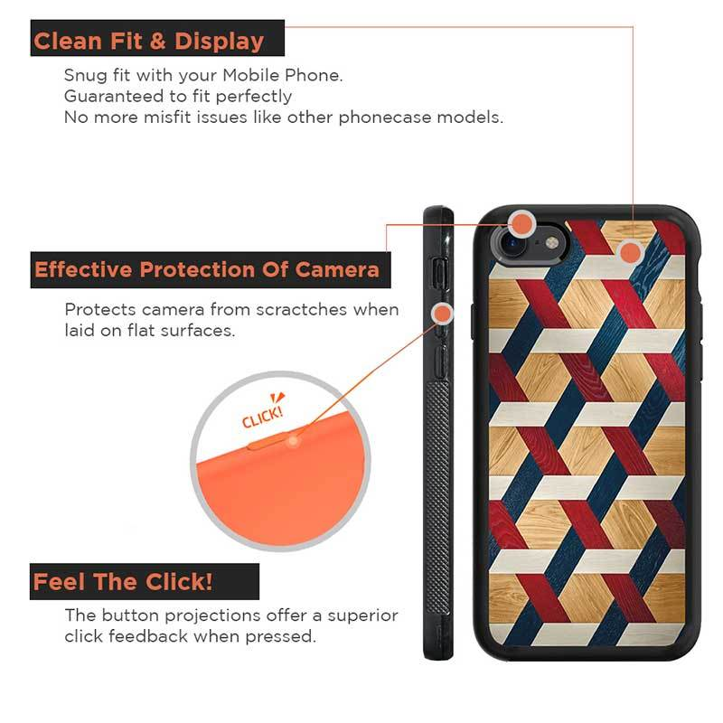 Mangomask™ - Apple iPhone 8 Criss Cross Pattern Print on Real Wood Slim Mobile Phone Case Back Cover