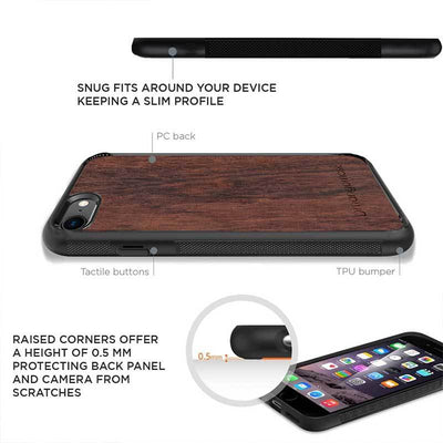 Mangomask™ - Apple iPhone 8 Mountain-Camping-Inlay Mahogany AND Rosewood Real Wood Slim Mobile Phone Case Back Cover