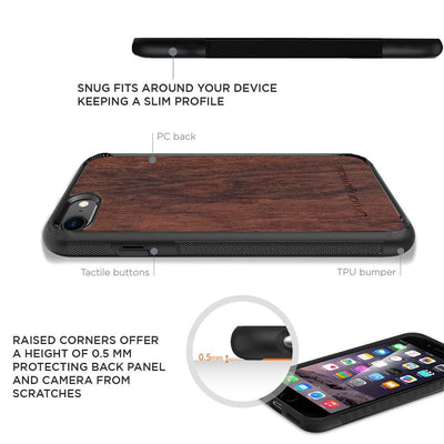 Mangomask™ - Apple iPhone 8 Plus Mountain-Camping-Inlay Mahogany AND Rosewood Real Wood Slim Mobile Phone Case Back Cover