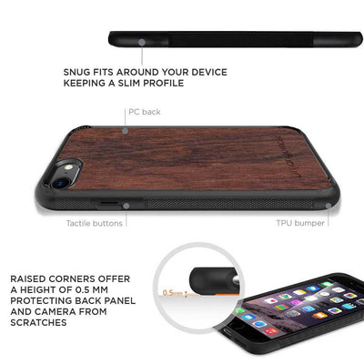 Mangomask™ - Apple iPhone 7Plus Mobile Plain Rosewood Real Wood Phone Case Back Cover