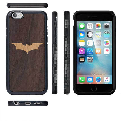 Mangomask™ - Apple iPhone 6 Plus / 6S Plus Batman Logo Inlay on Mahogany Real Wood Slim Mobile Phone Case Back Cover