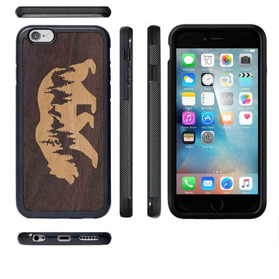 Mangomask™ - Apple iPhone 6 / 6S Mountain-Bear-Inlay Mahogany AND Rosewood Real Wood Slim Mobile Phone Case Back Cover