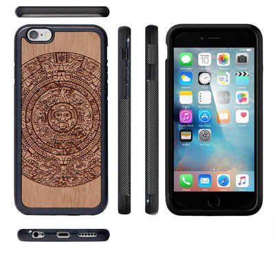 Mangomask™ - Apple iPhone 6 Plus / 6S Plus Aztec-Calendar Engraved on Mahogany Real Wood Slim Mobile Phone Case Back Cover