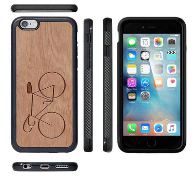 Mangomask™ - Apple iPhone 6 Plus / 6S Plus Bicycle Engraved on Mahogany Real Wood Slim Mobile Phone Case Back Cover