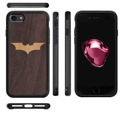 Mangomask™ - Apple iPhone 8 Batman Logo Inlay on Mahogany Real Wood Slim Mobile Phone Case Back Cover