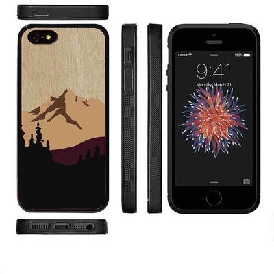 Mangomask™ - Apple iPhone 5 / 5s / SE Mountain-Pattern-Inlay Mahogany on Rosewood Real Wood Slim Mobile Phone Case Back Cover