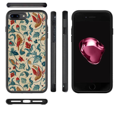 Mangomask™ - Apple iPhone 7PLUS Flower-Kalamkari Print on Real Wood Slim Mobile Phone Case Back Cover