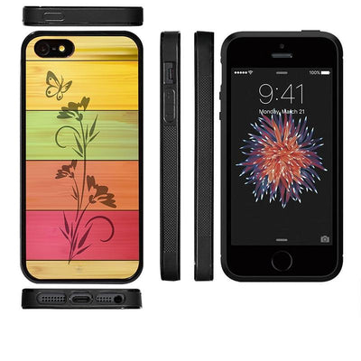Mangomask™ - Apple iPhone 5 / 5s / SE Flower Print on Real Wood Slim Mobile Phone Case Back Cover