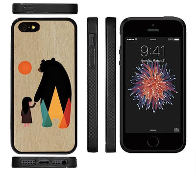 Mangomask™ - Apple iPhone 5 / 5s / SE Bear-And-Girl Print on Real Wood Slim Mobile Phone Case Back Cover