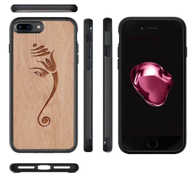 Mangomask™ - Apple iPhone 8 Plus Ganesha Engraved on Mahogany Real Wood Slim Mobile Phone Case Back Cover