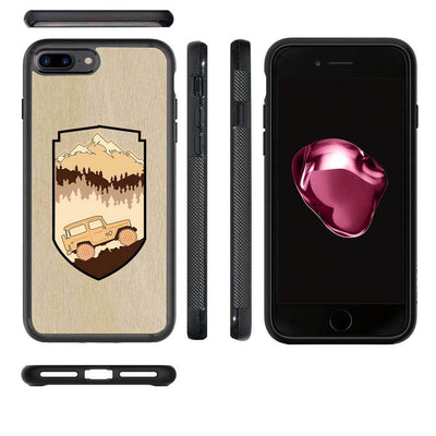 Mangomask™ - Apple iPhone 7PLUS Mountain-Trees-Jeep-Pattern-Inlay Mahogany on Rosewood Real Wood Slim Mobile Phone Case Back Cover