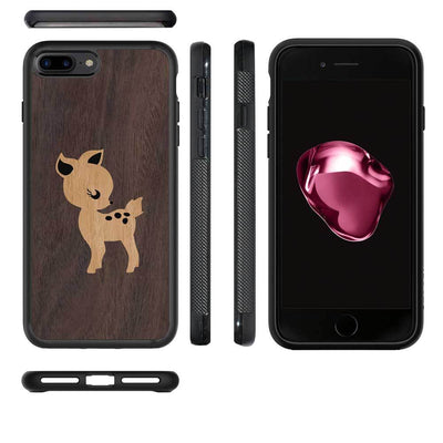 Mangomask™ - Apple iPhone 7Plus Fawn Mahogany on Rosewood Real Wood Slim Mobile Phone Case Back Cover