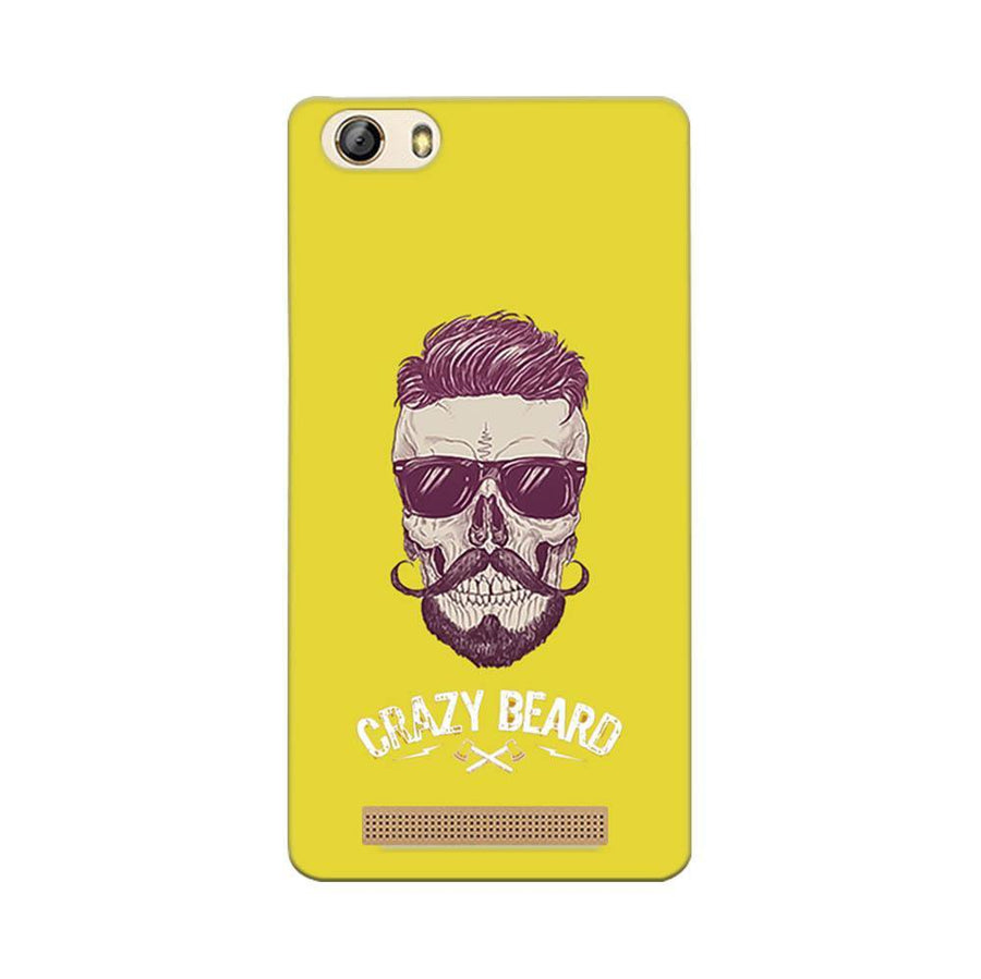 Mangomask Gionee Marathon M5 Lite Mobile Phone Case Back Cover Custom Printed Designer Series Yellow Hipster Skull