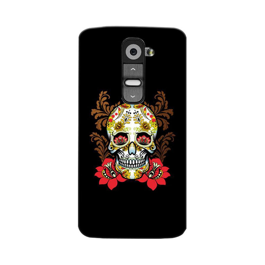 Mangomask LG G2 Mobile Phone Case Back Cover Custom Printed Designer Series Red Flowers Skull