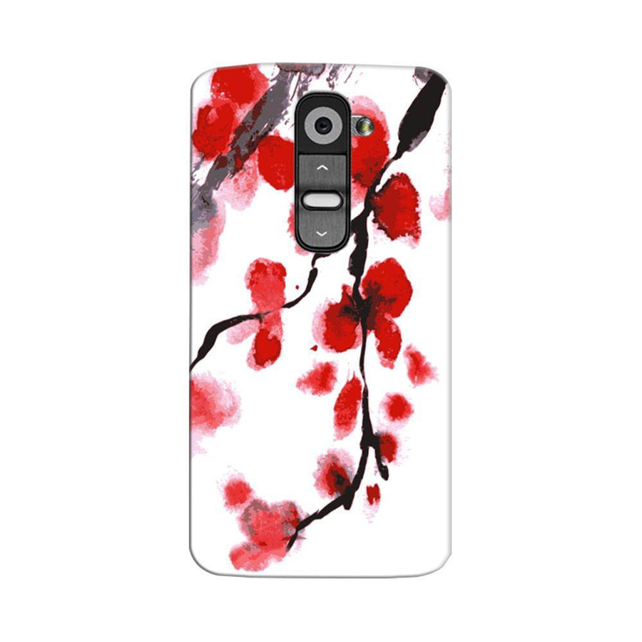 Mangomask LG G2 Mobile Phone Case Back Cover Custom Printed Designer Series Red And White Black Floral