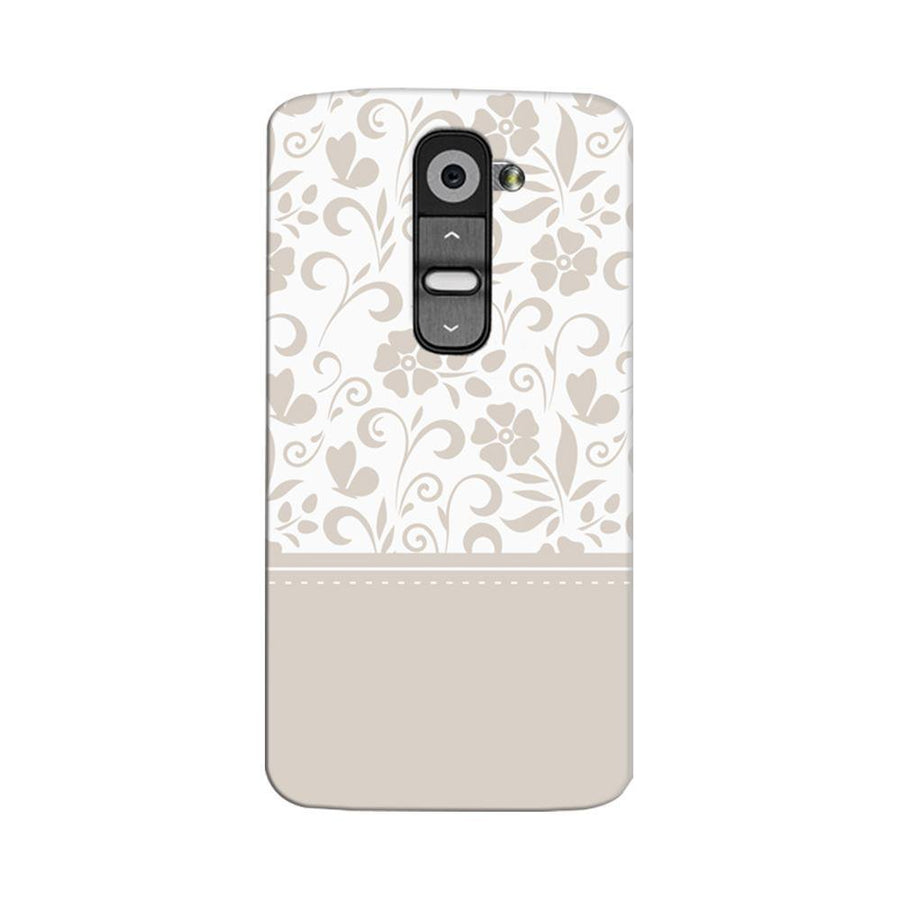Mangomask LG G2 Mobile Phone Case Back Cover Custom Printed Designer Series White And Beige Floral
