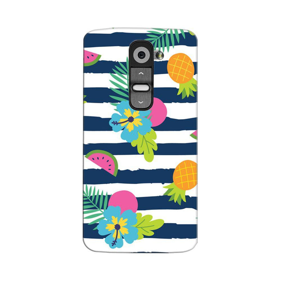 Mangomask LG G2 Mobile Phone Case Back Cover Custom Printed Designer Series Tropical Fruit Stripes