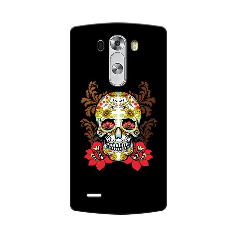 Mangomask LG G3 Stylus Mobile Phone Case Back Cover Custom Printed Designer Series Red Flowers Skull