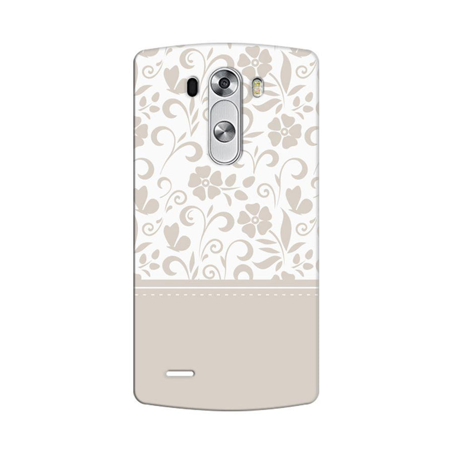 Mangomask LG G3 Stylus Mobile Phone Case Back Cover Custom Printed Designer Series White And Beige Floral