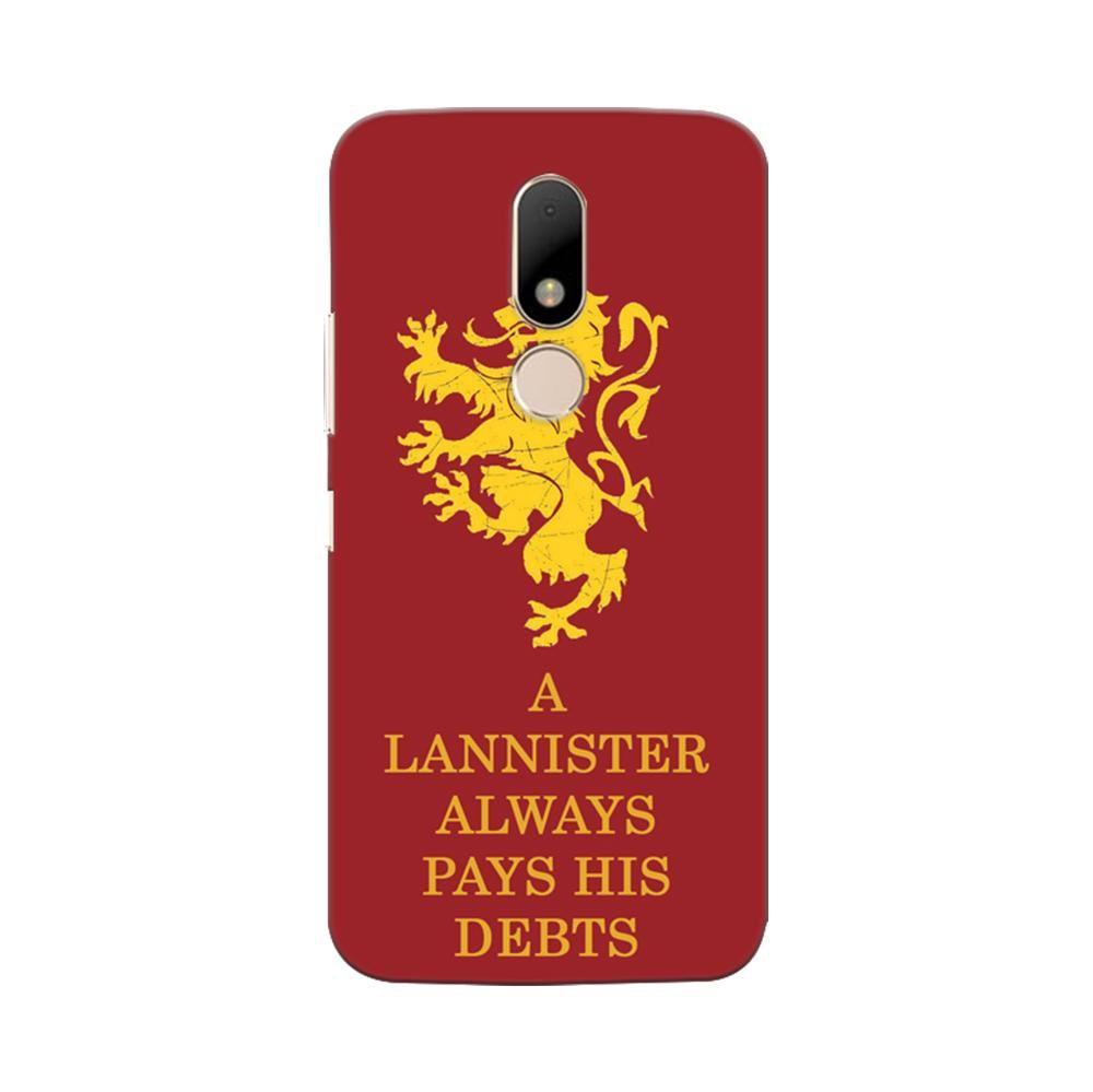 new arrival b89de 908ae Mangomask Motorola Moto M Mobile Phone Case Back Cover Custom Printed  Designer Series A Lannister Always Pays His Debts Game Of Thrones (Got)