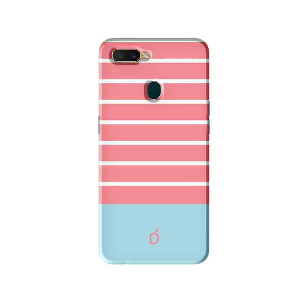 the latest 86381 e038a Mangomask Oppo A7 Mobile Phone Case Back Cover Custom Printed Designer  Series Pink and Skyblue Stripes