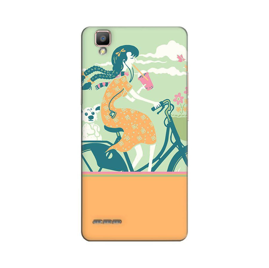 Mangomask Oppo F1 Plus Mobile Phone Case Back Cover Custom Printed Designer Series Girl Riding Bicycle