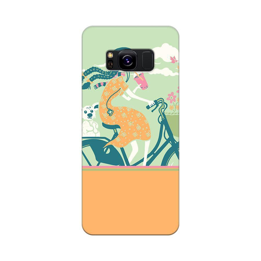 Mangomask Samsung Galaxy S8 Mobile Phone Case Back Cover Custom Printed Designer Series Girl Riding Bicycle