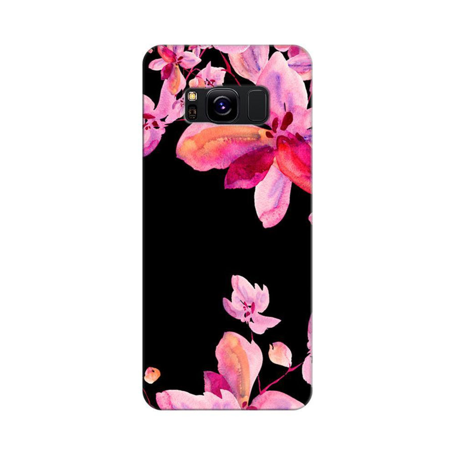 Mangomask Samsung Galaxy S8 Mobile Phone Case Back Cover Custom Printed Designer Series Black And Pink Floral Two