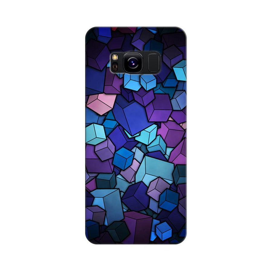 Mangomask Samsung Galaxy S8 Mobile Phone Case Back Cover Custom Printed Designer Series Blue Cubes Pattern