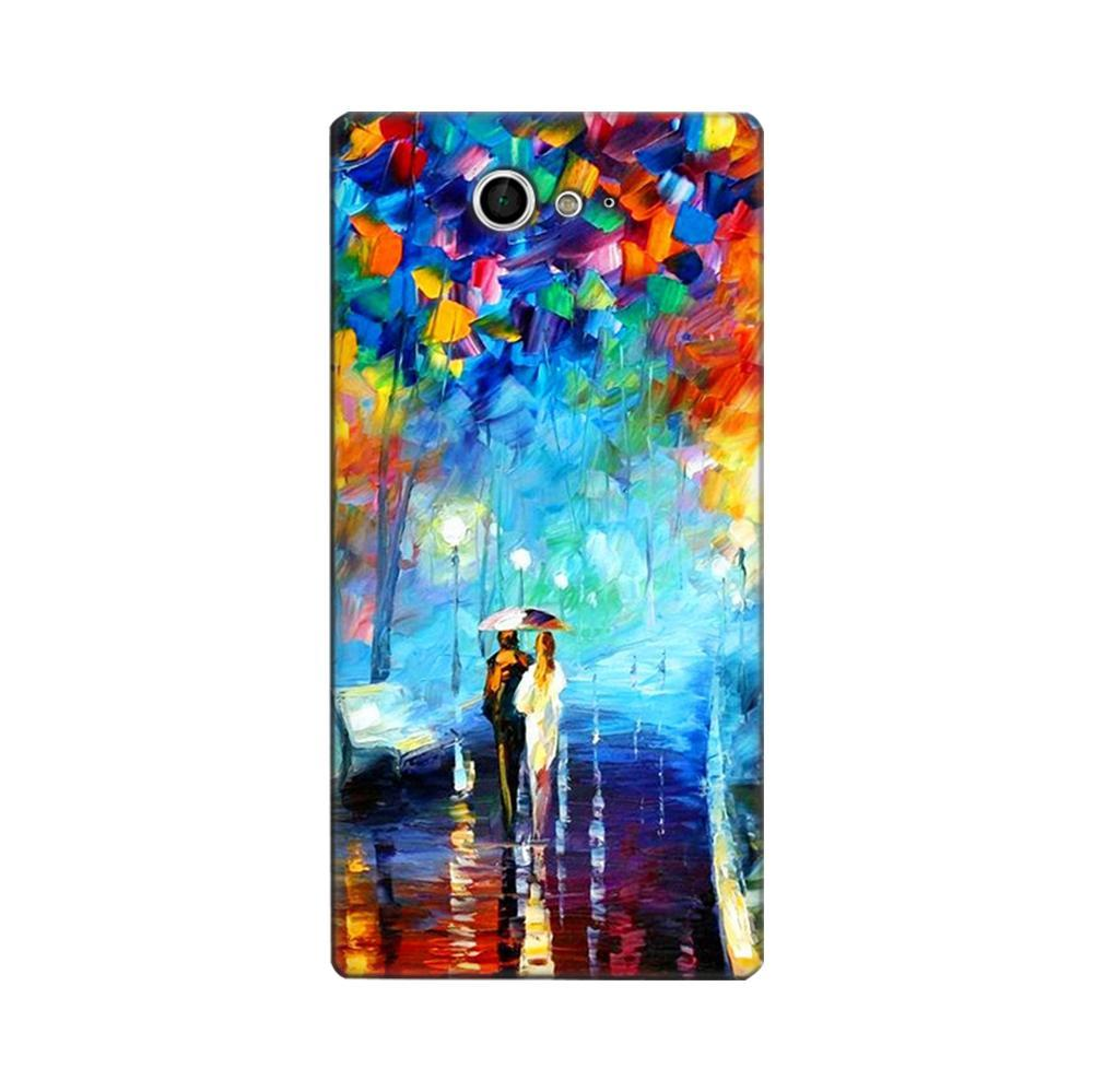 online store acdb0 2668c Mangomask Sony Xperia M2 Mobile Phone Case Back Cover Custom Printed  Designer Series Romantic Couple Walk