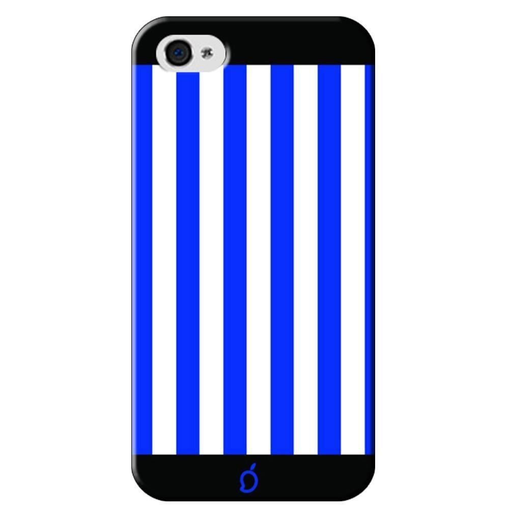 best service 59386 fab30 Mangomask Apple iPhone 4 / 4s Mobile Phone Case Back Cover Custom Printed  Neon Series Royal Blue Striped Seven