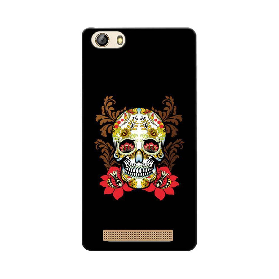 Mangomask Gionee Marathon M5 Lite Mobile Phone Case Back Cover Custom Printed Designer Series Red Flowers Skull