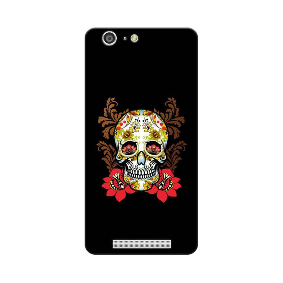 Mangomask Gionee Marathon M5 Mobile Phone Case Back Cover Custom Printed Designer Series Red Flowers Skull