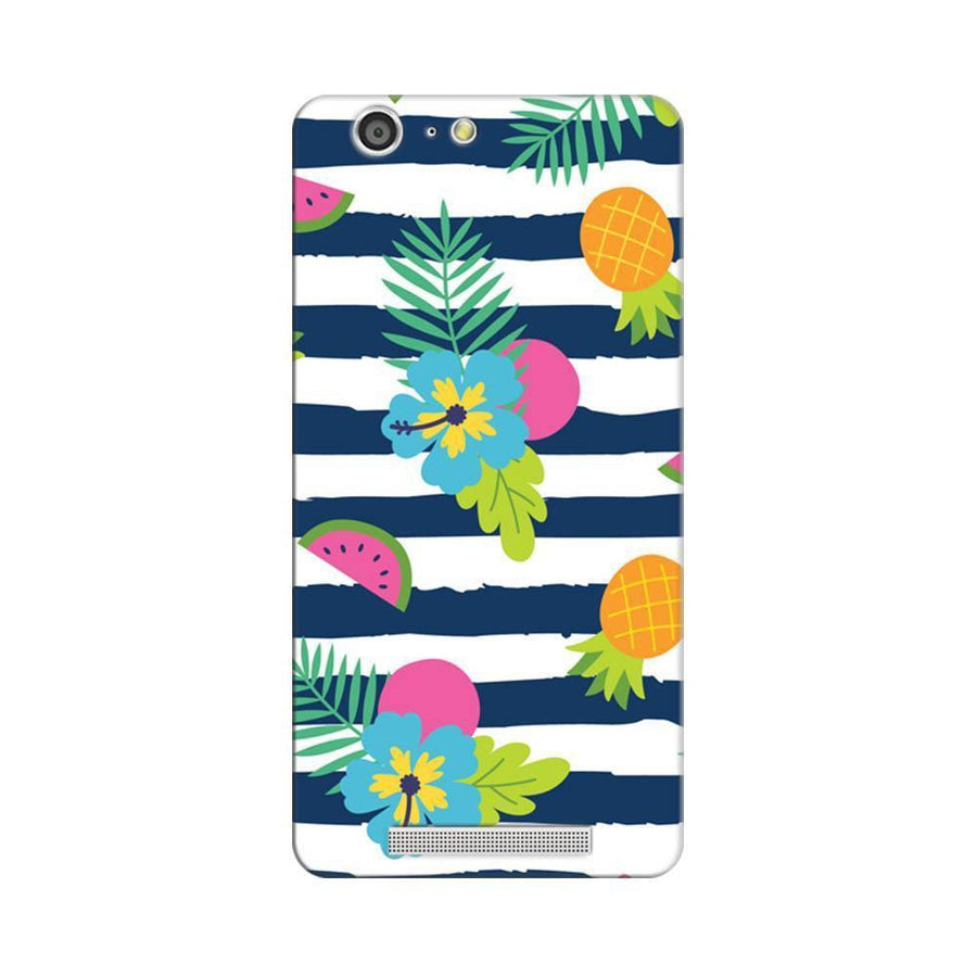 Mangomask Gionee Marathon M5 Mobile Phone Case Back Cover Custom Printed Designer Series Tropical Fruit Stripes