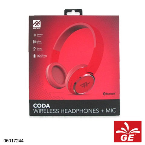 HEADPHONE IFROGZ CODA WIRELESS PLUS MIC RED / MERAH 05017244