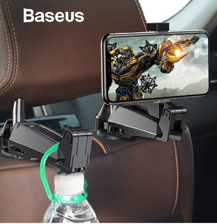 Holder Jepit BASEUS Backseat Car Mount Hook 2in1 Hitam 40001417