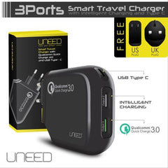 Adaptor UNEED Qualcomm Quick Charger 3.0+Type-C Hitam 21000029