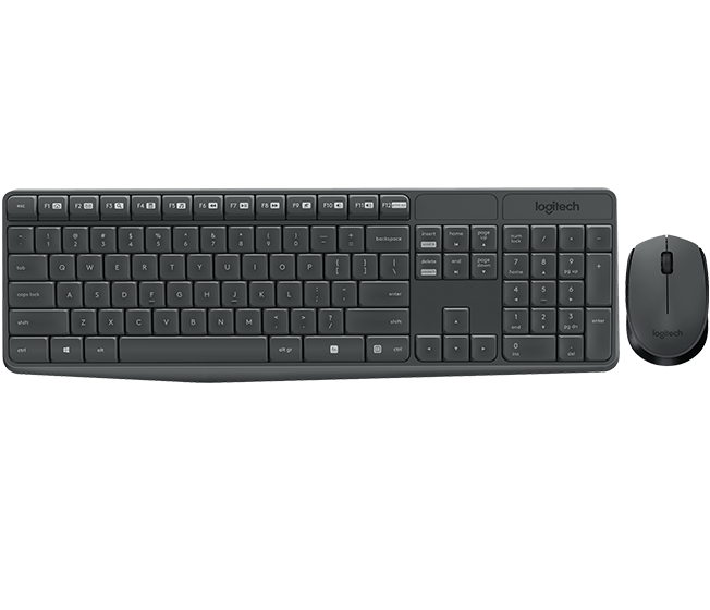 Logitech MK235 Wireless Keyboard and Mouse Combo Grey