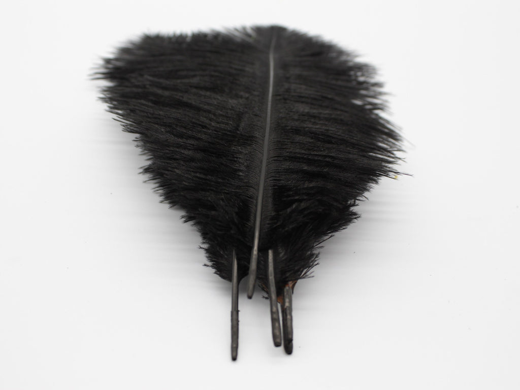 "Black Ostrich Feathers Drabs (13-16"")"