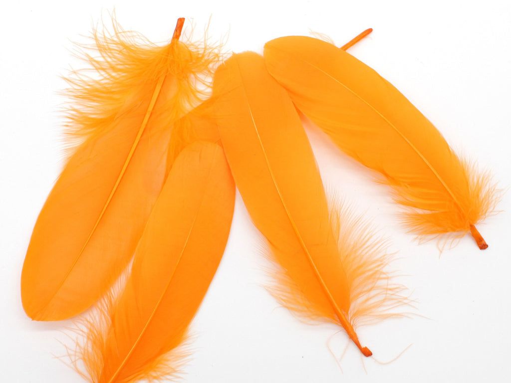 "Orange Goose Satinettes Loose Feather (6-8"")"